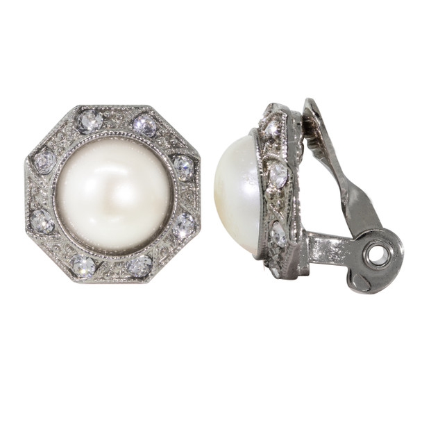 Silver Tone/Faux Pearl Crystal Round Button Clip Earring~78376