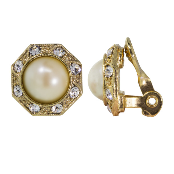 Gold Tone/Faux Pearl Crystal Round Button Clip Earring~78377