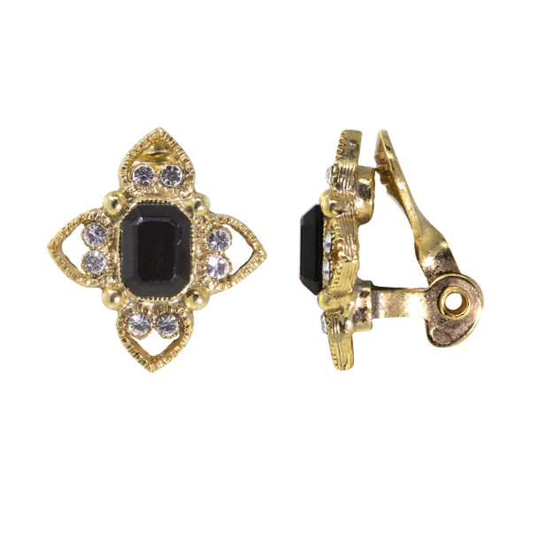 Gold Tone/Black Rectangle Crystal Floral Clip Earring~78379