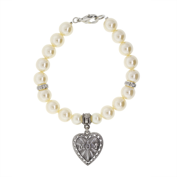 Pewter MOM Heart with Faux Pearl Charm Bracelet~60269