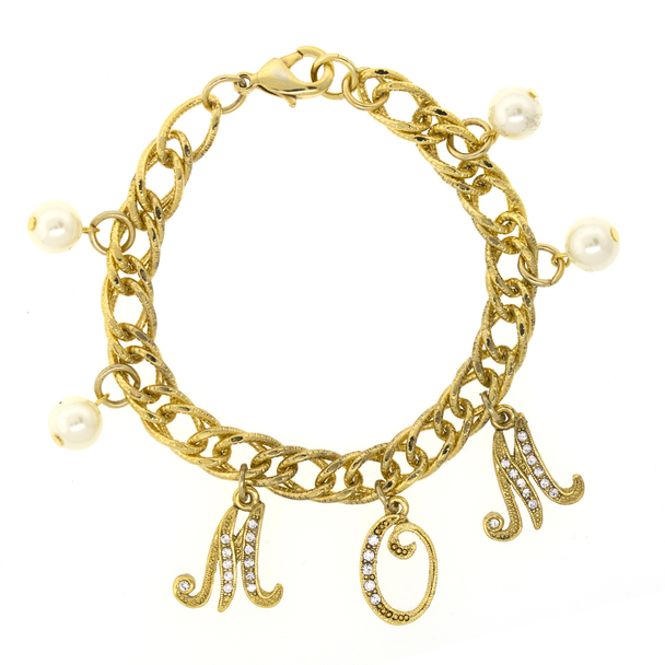 Gold Tone/Crystal/Faux Pearl MOM Charm Chain Bracelet~60547