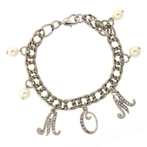 Silver Tone/Crystal/Faux Pearl MOM Charm Chain Bracelet~60551