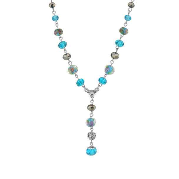 """16"""" Adjustable Silver Tone/Aqua/Pink Flower Beaded Drop Y Necklace~78601"""
