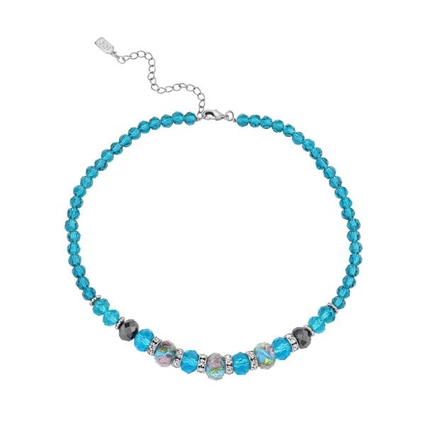 "15"" Adjustable Silver Tone/Aqua/Pink Floral Beaded Necklace~78602"