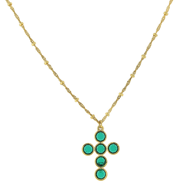 "16"" Adjustable 14K Gold-Dipped/Green Swarovski Elements Cross Necklace~47432"