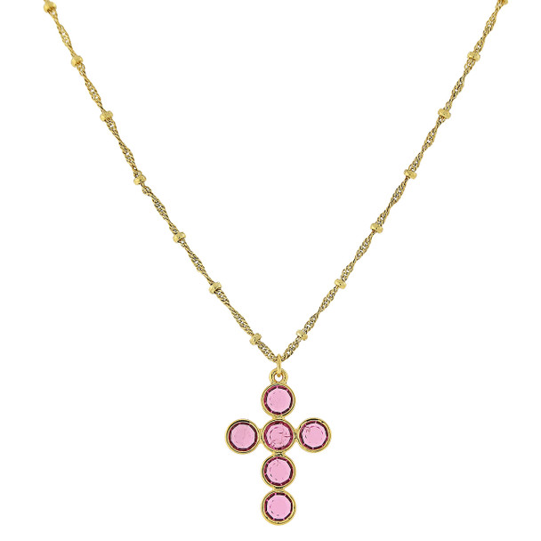 """16"""" Adjustable 14K Gold-Dipped/Pink Swarovski Elements Cross Necklace~47433"""