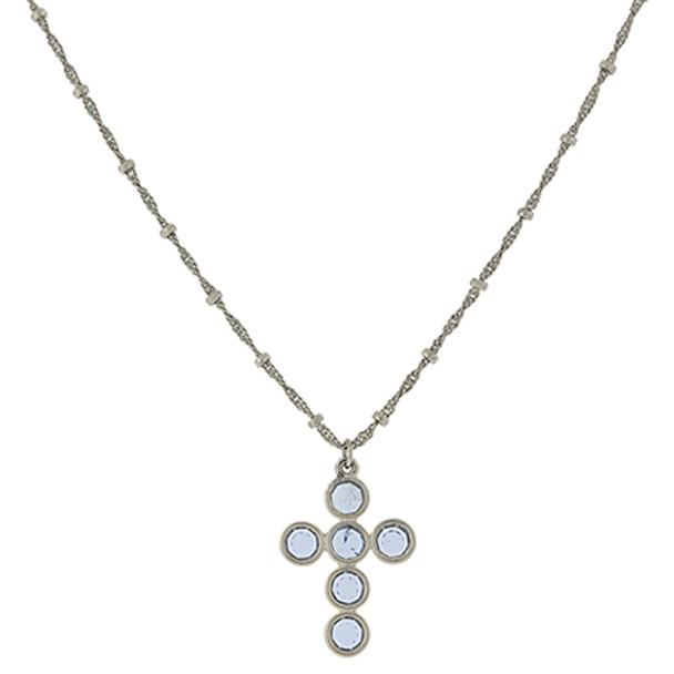 "16"" Adjustable Silver-Tone/Light Blue Swarovski Elements Cross Necklace~47434"