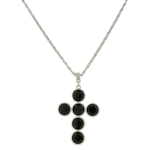 "20"" Silver-Tone/Black Swarovski Elements Cross Necklace~47435"