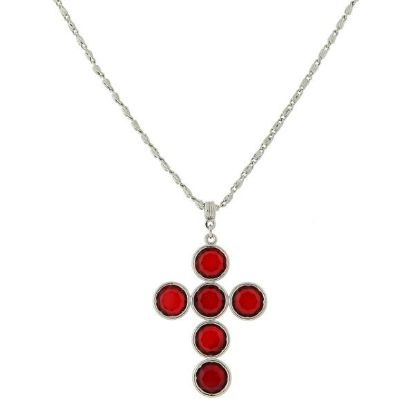 "20"" Silver-Tone/Red Swarovski Elements Cross Necklace~47436"