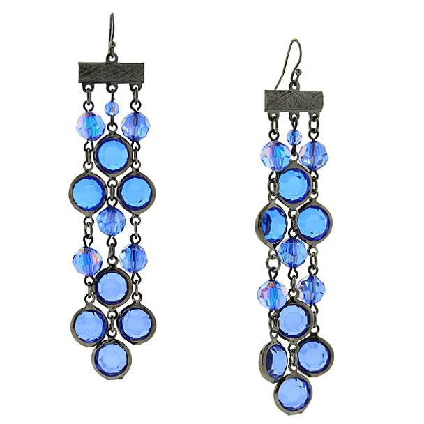 Black-Tone/Sapphire Blue Aurora Borealis Triple Drop Linear Earrings~29851