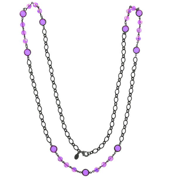 "40"" Black-Tone/Purple Aurora Borealis Long Strand Necklace~52559"