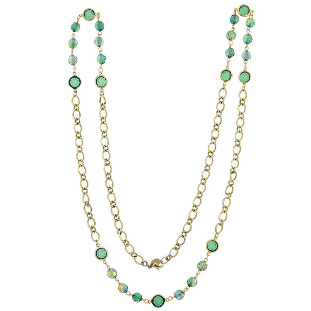 "40"" Gold-Tone/Emerald Green Aurora Borealis Long Strand Necklace~52561"