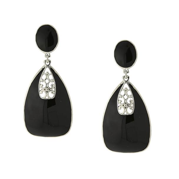 Silver-Tone/Black Enamel Drop Earrings~25381