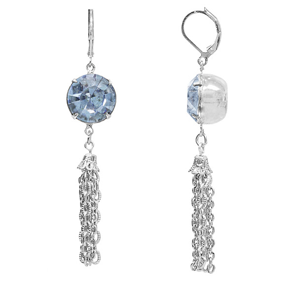 Silver Tone/Light Blue Swarovski Crystal Drop Tassel Earrings~22375