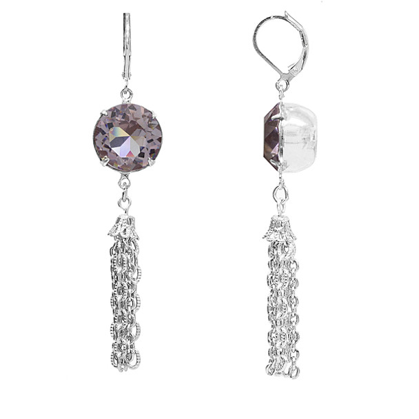 Silver Tone/Light Purple Swarovski Crystal Tassel Drop Earrings~22656