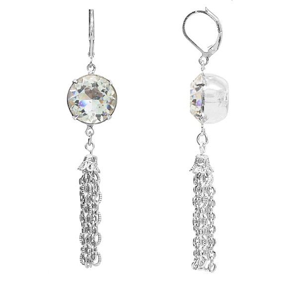 Silver Tone/Swarovski Crystal Tassel Drop Earrings~22666
