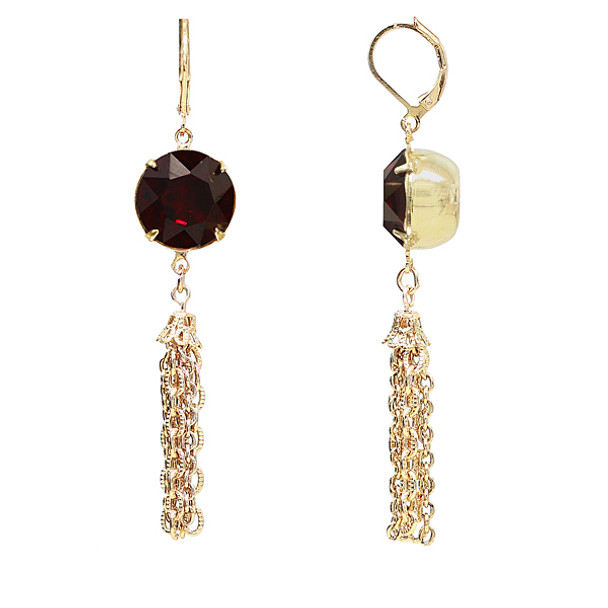 Gold Tone/Red Swarovski Crystal Tassel Drop Earrings~22692