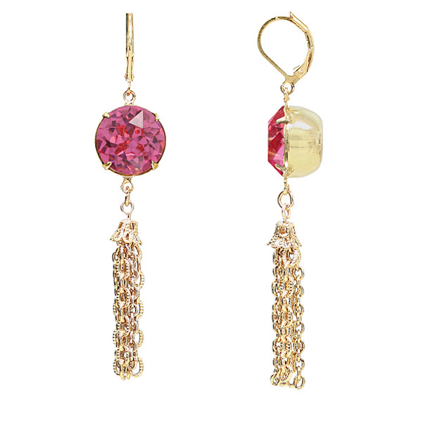 Gold Tone/Pink Swarovski Crystal Tassel Drop Earrings~22770