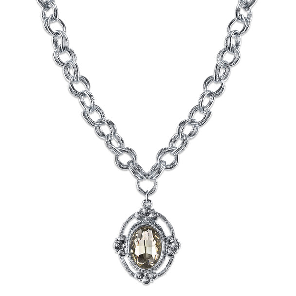 "16"" Adjustable Silver-Tone/Crystal Faceted Oval Pendant Necklace~41099"