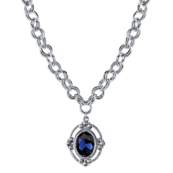 "16"" Adjustable Silver-Tone/Blue Faceted Oval Pendant Necklace~41101"