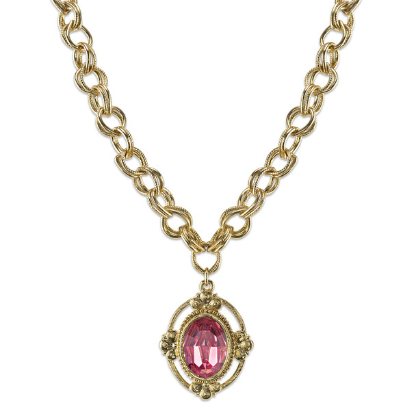 "16"" Adjustable Gold-Tone/Light Rose Pink Swarovski Crystal Oval Pendant Necklace~41153"