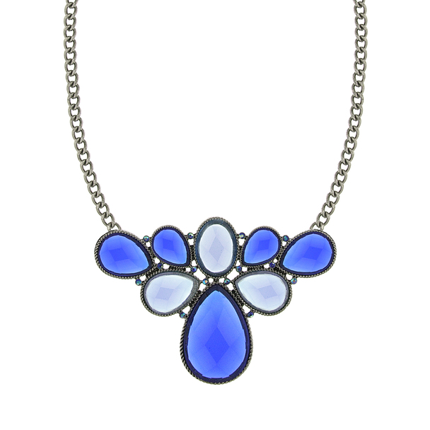 "16"" Adjustable Silver-Tone/Blue Stone/Aurora Borealis Blue Cluster Bib Necklace~49007"