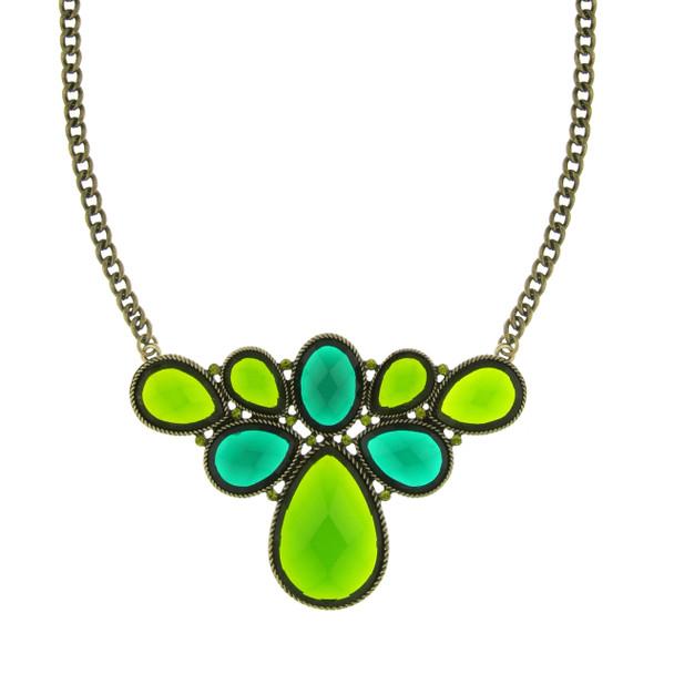 """16"""" Adjustable Gold-Tone/Green Stone/Olivine-Color Crystal Cluster Bib Necklace~49004"""