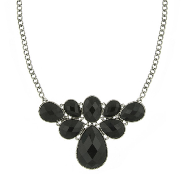 "16"" Adjustable Silver-Tone/Black Faceted Stone/Crystal Bib Cluster Necklace~49006"