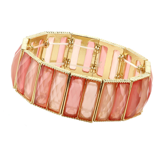 Gold-Tone/Orange Faceted Stretch Bracelet~61902