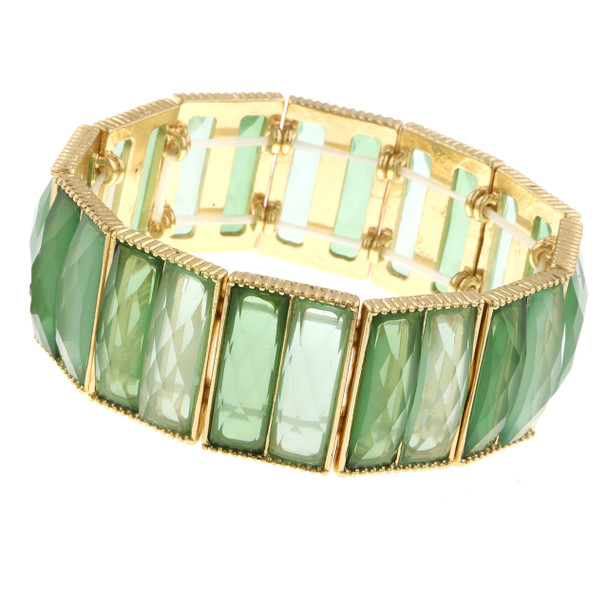 Gold-Tone/Green Stretch Bracelet~61917