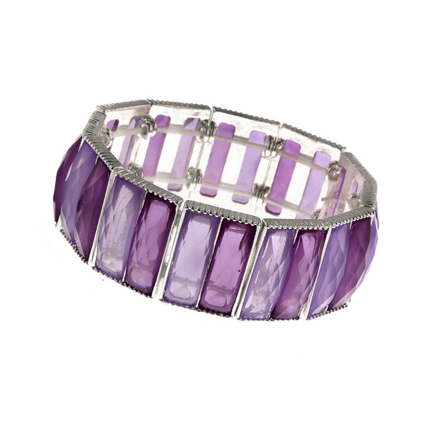 Silver-Tone/Purple Faceted Stretch Bracelet~61923