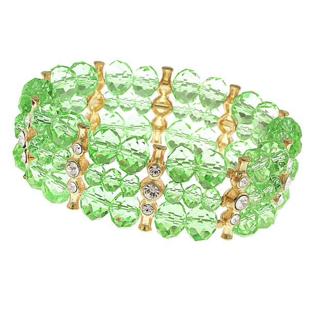 Gold-Tone/Green/Crystal 3-Row Beaded Stretch Bracelet~61926