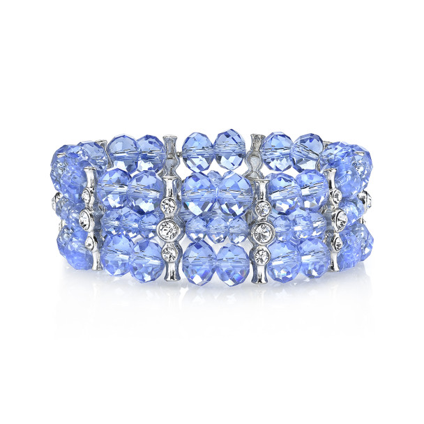 Silver-Tone/Light Sapphire Blue/Crystal 3-Row Beaded Stretch Bracelet~61927