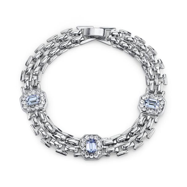 Silver-Tone/Light Sapphire Blue/Crystal Clasp Bracelet~61932