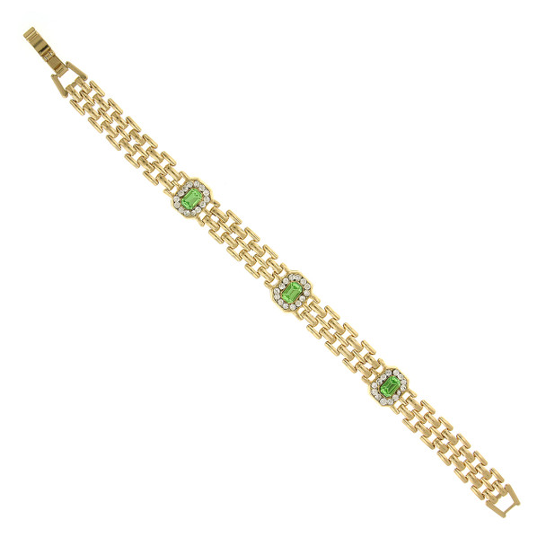 Gold-Tone/Green/Crystal Clasp Bracelet~61930