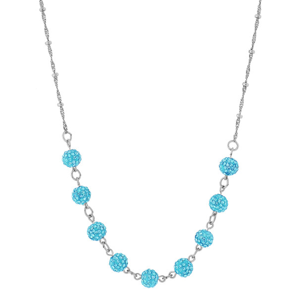 "16"" Adjustable Silver-Tone/Aqua Blue Crystal Fireball Pave Necklace~46520"