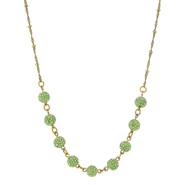 """16"""" Adjustable Gold-Tone/Green Crystal Fireball Pave Necklace~46522"""