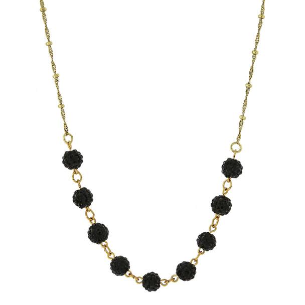 "16"" Adjustable Gold-Tone/Black Crystal Fireball Pave Necklace~46536"