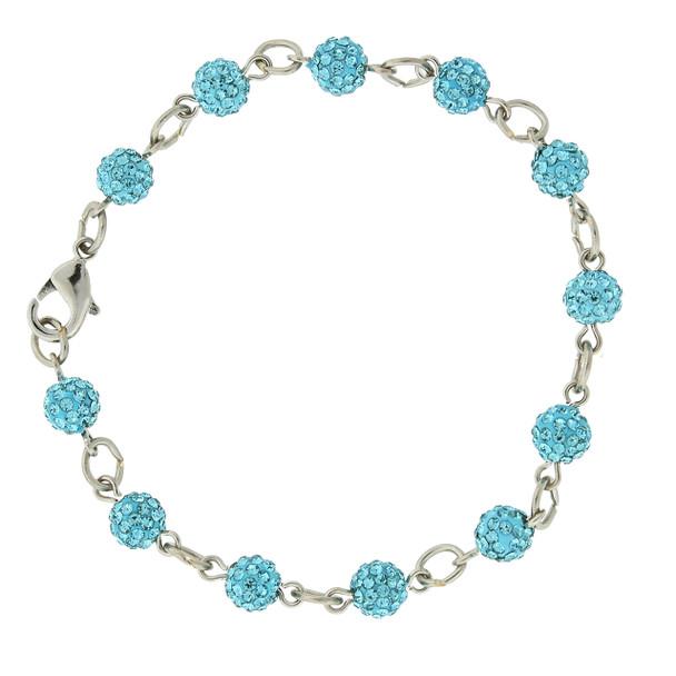 Silver-Tone/Aqua Blue Crystal Fireball Pave Clasp Bracelet~65071