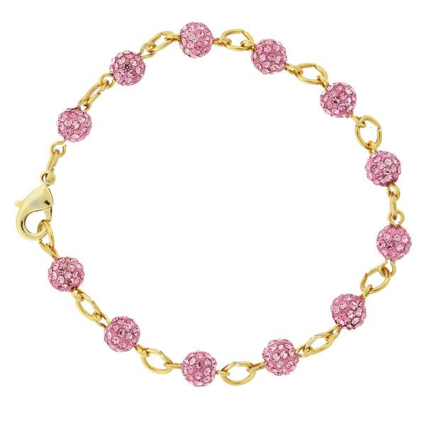 Gold-Tone/Pink Crystal Fireball Pave Clasp Bracelet~65074