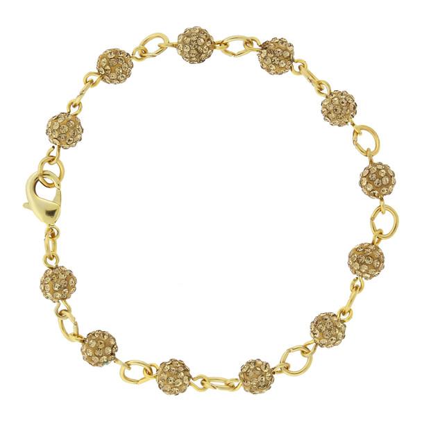 Gold-Tone/Topaz Color Crystal Fireball Pave Clasp Bracelet~65096
