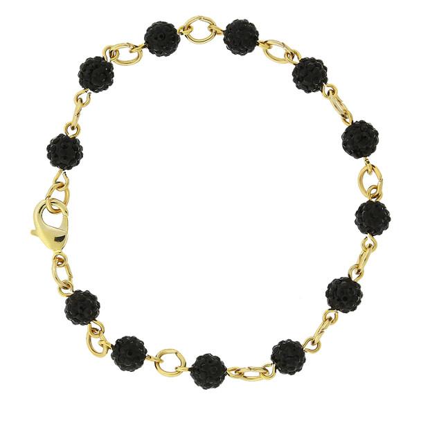 Gold-Tone/Black Crystal Fireball Pave Clasp Bracelet~65124