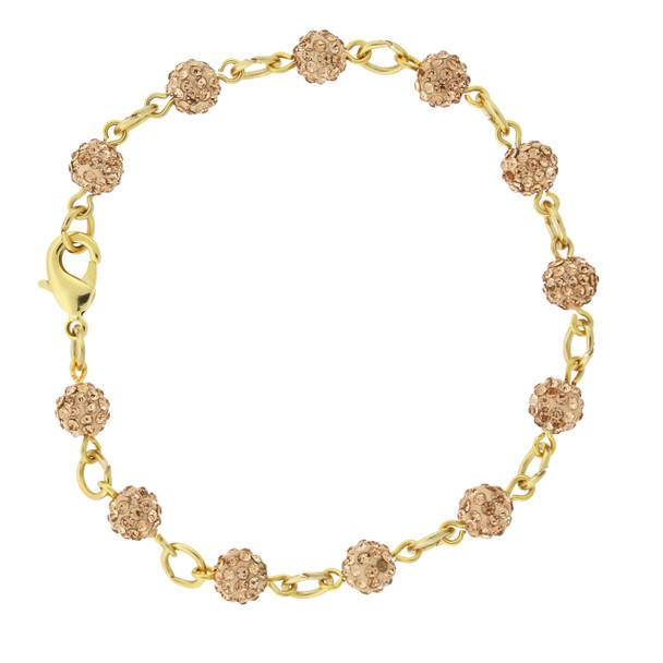 Gold-Tone/Peach Crystal Fireball Pave Clasp Bracelet~65128