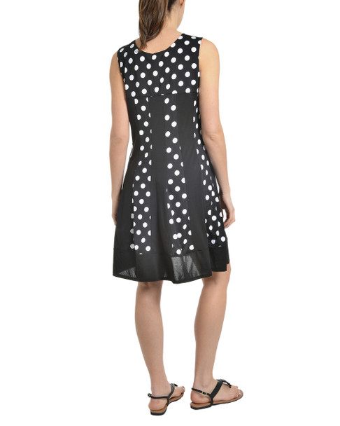 Polka Dot Fit and Flare Tank Dress~Black Bigdotduo*MITD3495