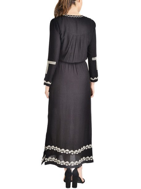 Embroidered Lace-Up Neck Maxi Dress~Black Sunfence*MCAD0326