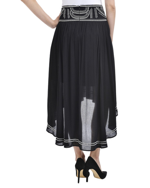 Embroidered Flared Skirt~Black Suntribe*MCOK0175