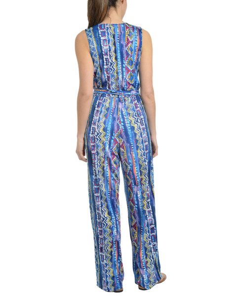 Sleeveless V Neck Jumpsuit~Blue Kahlorail*MITU5980