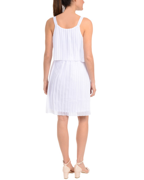 Allover Pleated Popover Dress~Bright White*MCCD0341