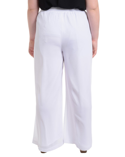 Plus Size Palazzo Drawstring Pant~Bright White*WCCP0130