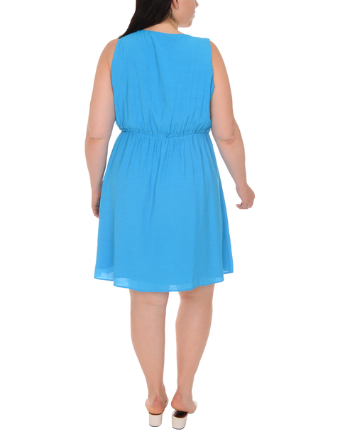 Plus Size Sleeveless A Line Ruffle Waist Dress~Hawaiianocean*WRJD0206